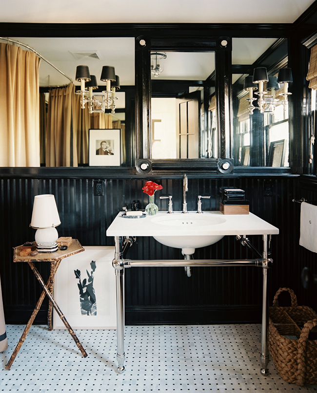 Dark Walled Bathrooms | lonny.com | design-vox.com